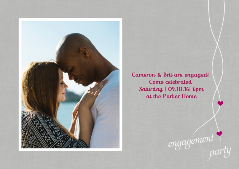 Engagement Party Invitations 5x7 Cards, Premium Cardstock 120lb, Card & Stationery -Heartfelt Engagement