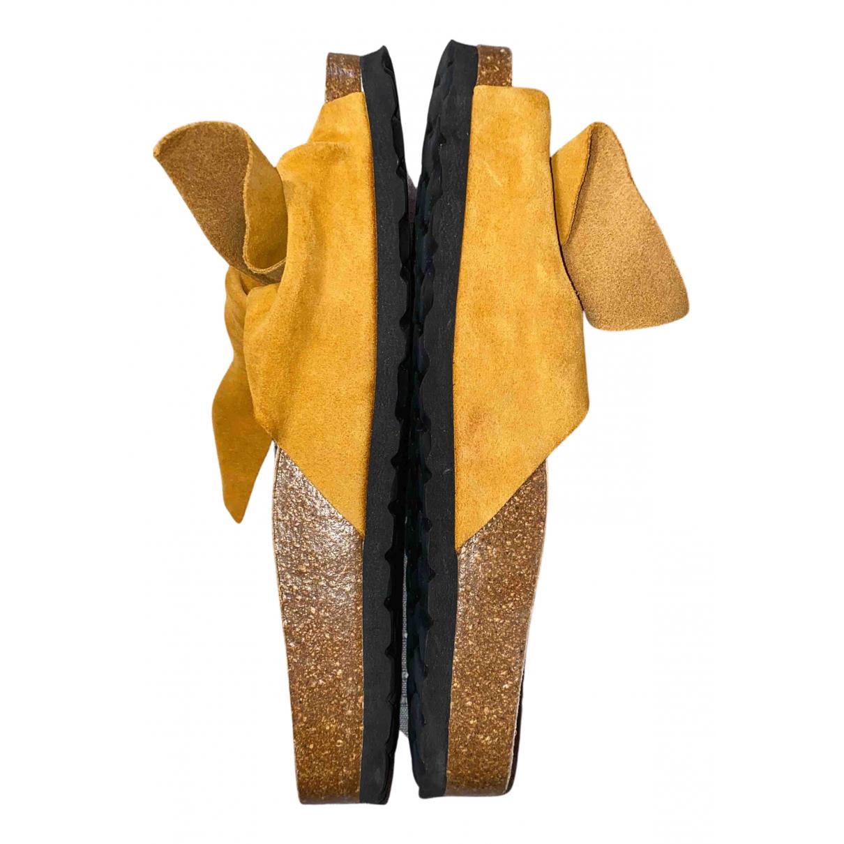 Oysho - Espadrilles   pour femme en cuir - jaune