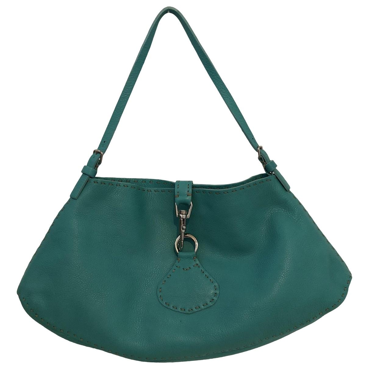Fendi - Sac a main   pour femme en cuir - turquoise