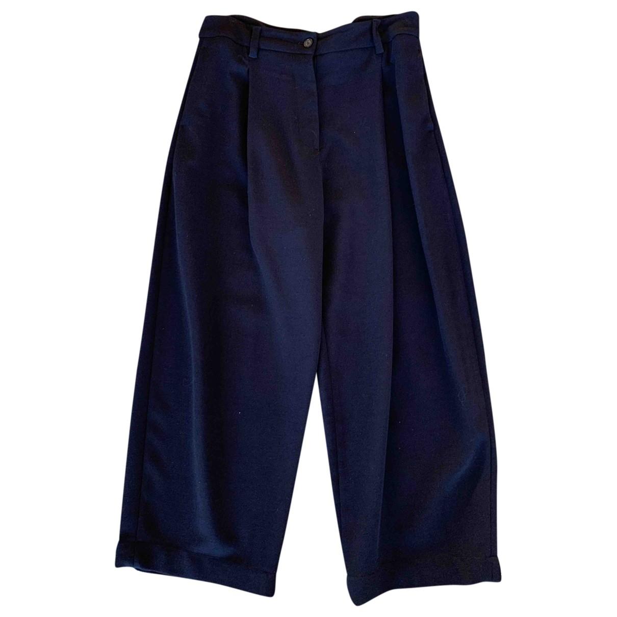 Studio Nicholson \N Navy Wool Trousers for Women 2 0-5
