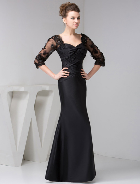 Milanoo Madre de novia manga larga encaje sirena largo vestido de noche negro