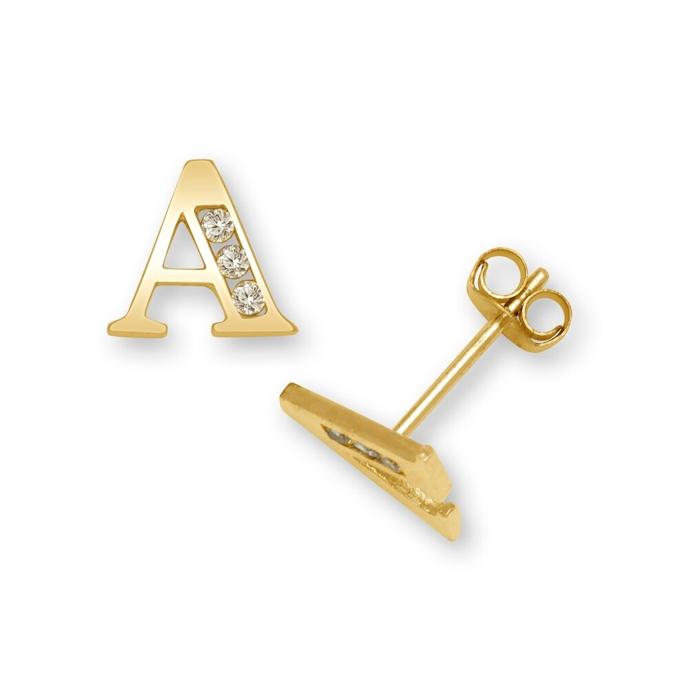 Curata Solid 14k Yellow Gold Channel-set Cubic Zirconia Initial Pair Earrings (A-Z) - White (H)