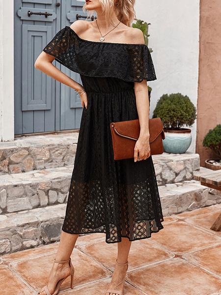 Milanoo Black Lace Dresses Women Off-The-Shoulder Short Sleeves Ruffles Skater Dresses