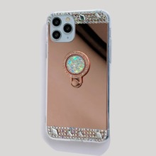 Rhinestone Decor Mirror Design iPhone Case With Ring Holder