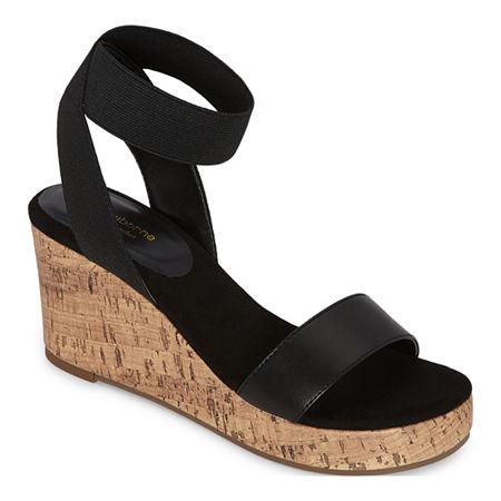 Liz Claiborne Womens Hapur Wedge Sandals, 10 Medium, Black