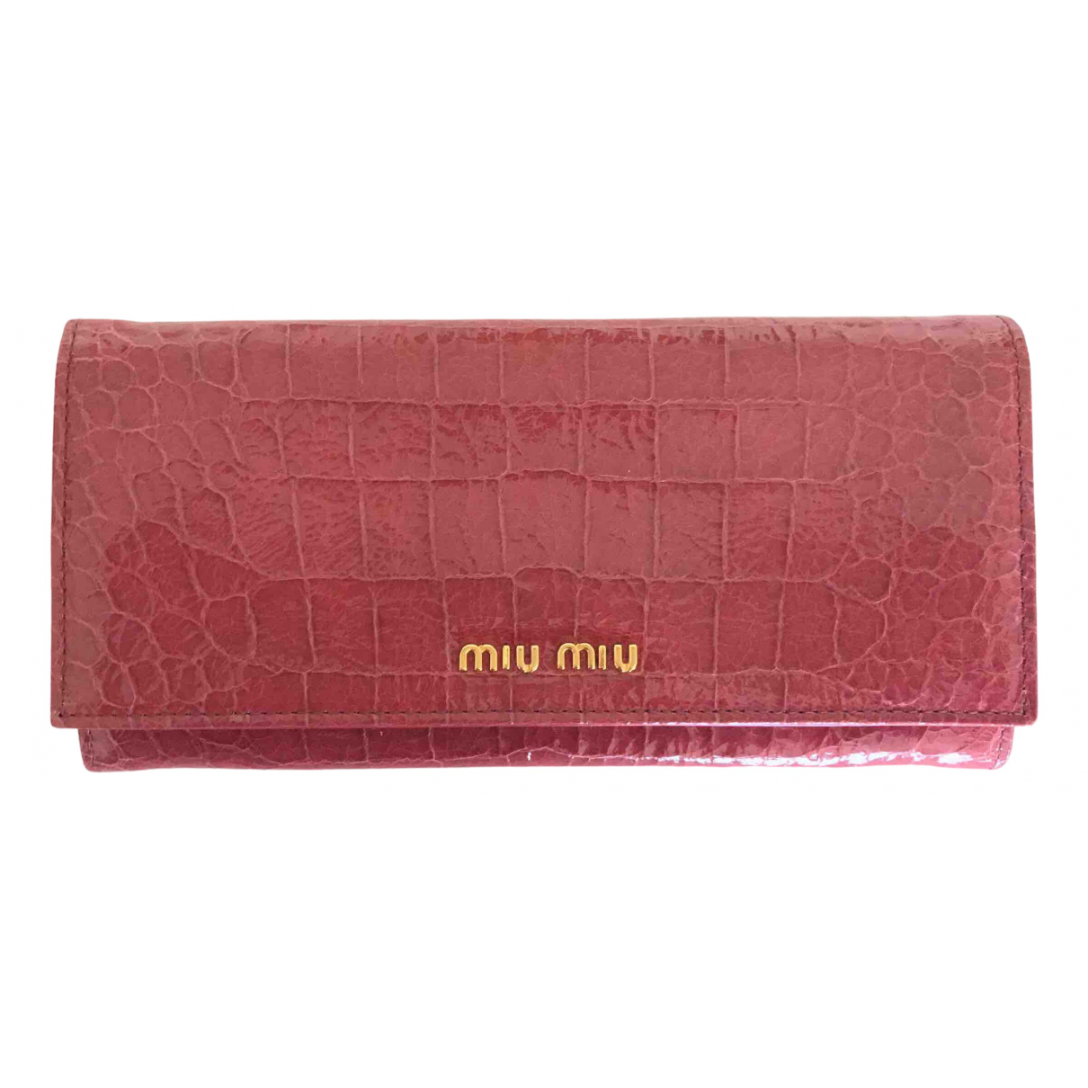Miu Miu - Portefeuille   pour femme en cuir verni - rose