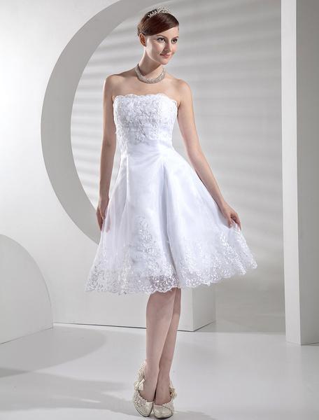 Milanoo Vestido de novia blanco vestido de novia sin tirantes cortos apliques de encaje hasta la rodilla vestido de linea de recepcion de la boda
