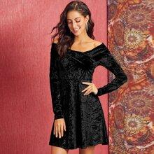 Cross Wrap Bardot Velvet A-line Dress