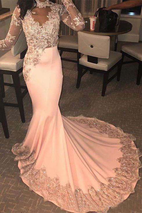 Trendy Long Sleeves Appliques Pink Mermaid Prom Dresses