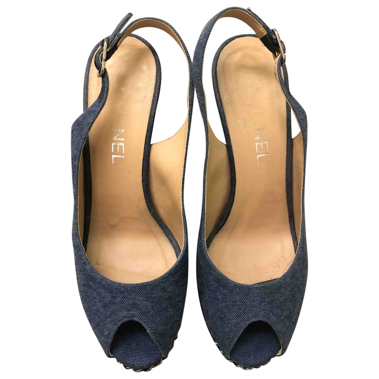 Chanel \N Blue Cloth Sandals for Women 39.5 EU