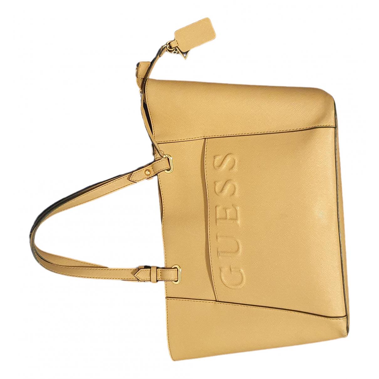 Guess \N Handtasche in  Beige Leder