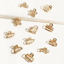 12 piezas garra de pelo de niñitas con diseño de estrella y corazon