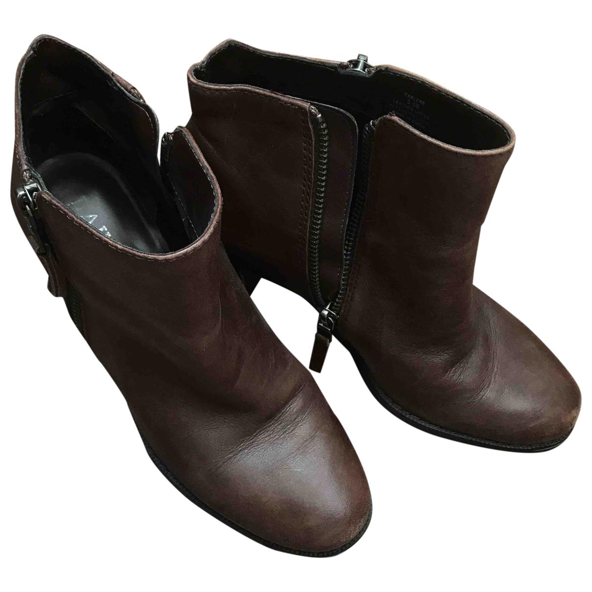 Lauren Ralph Lauren - Boots   pour femme en cuir - marron