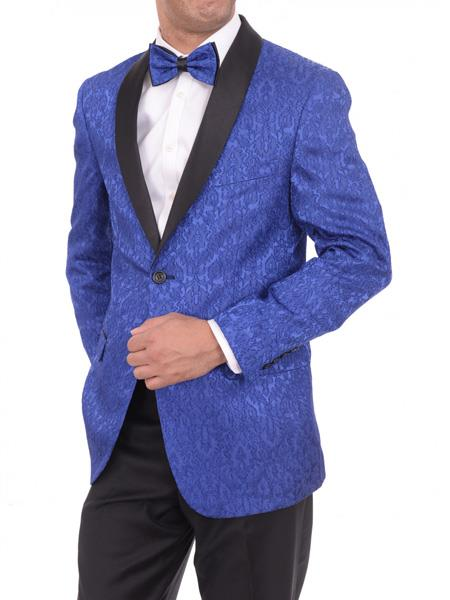 Men's Satin Shawl Lapel Blue 2 Button Floral Slim Fit Blazer Sportcoat