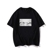 Men Hands Graphic Drop Shoulder Tee