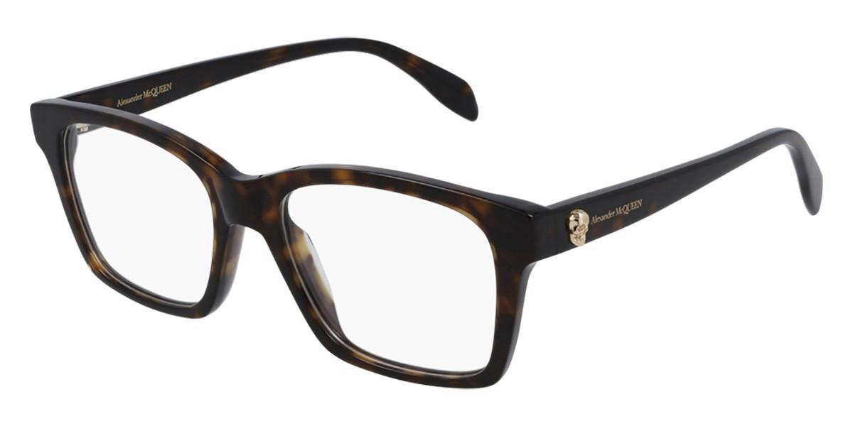 Alexander McQueen AM0283O 002 Mens Glasses Tortoise Size 53 - Free Lenses - HSA/FSA Insurance - Blue Light Block Available