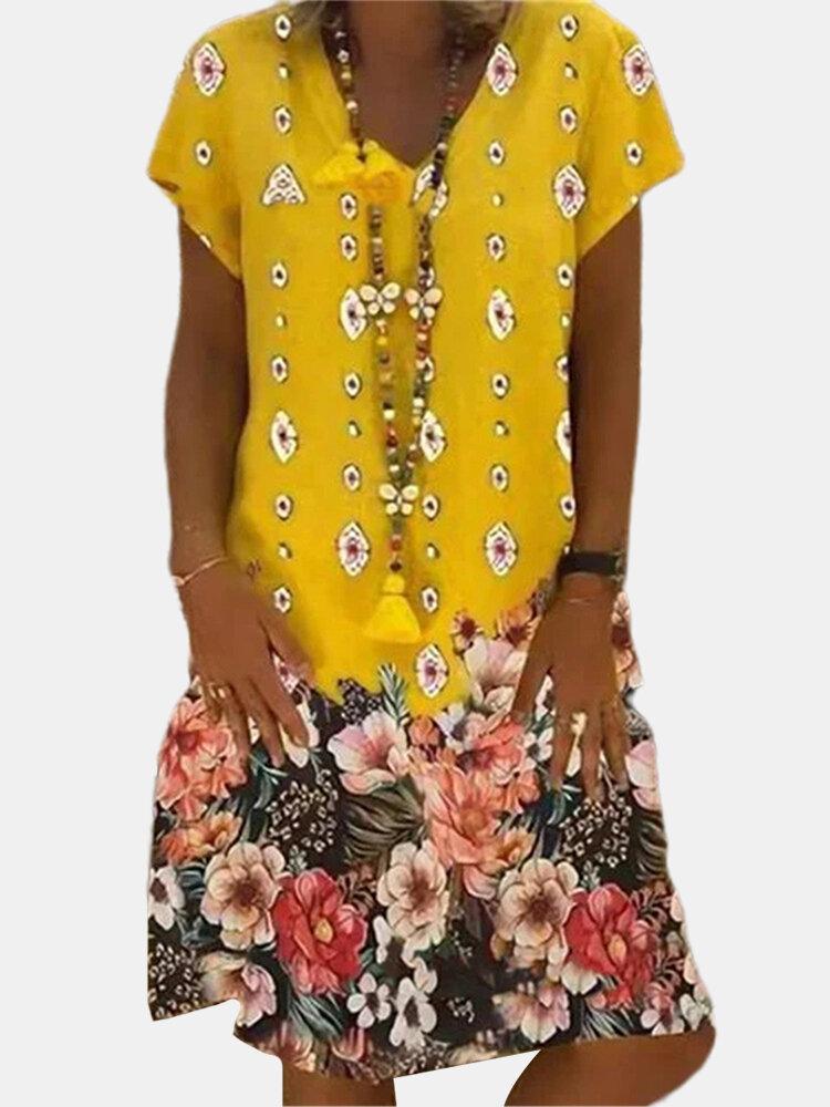 Vintage Floral Printed V-neck Short Sleeve Midi Dress
