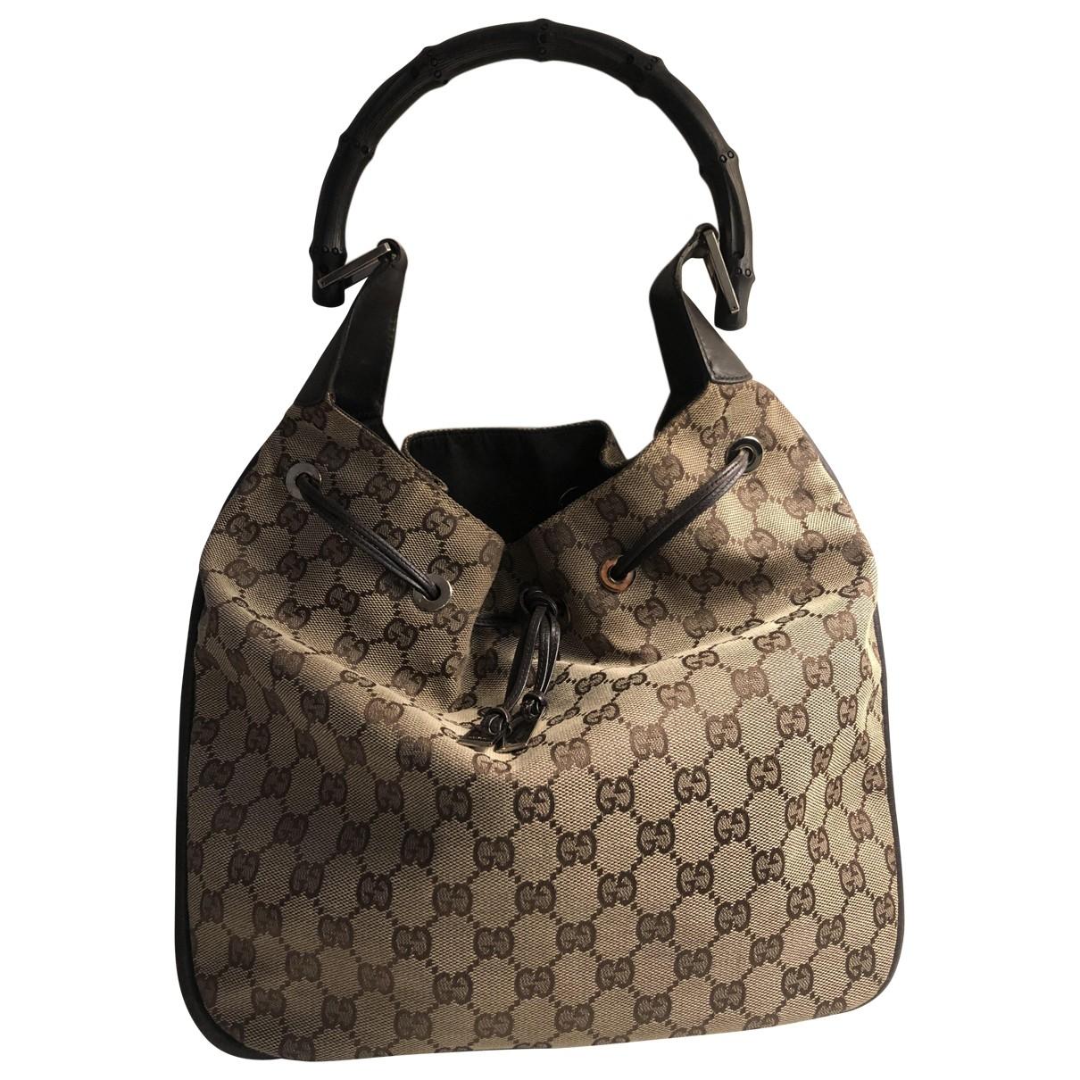 Gucci Bamboo Grey Cloth handbag for Women \N