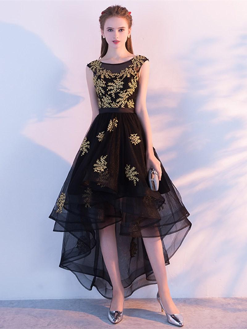 Ericdress A Line Cap Sleeve Applique High Low Homecoming Dress