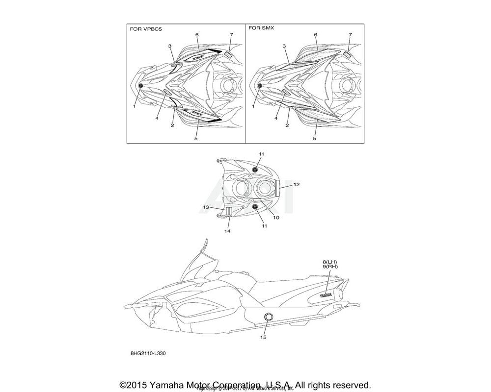 Yamaha OEM 8HG-7711M-30-00 GRAPHIC, SHROUD | Use for Color Black Metallic X ( SMX / 0903 )