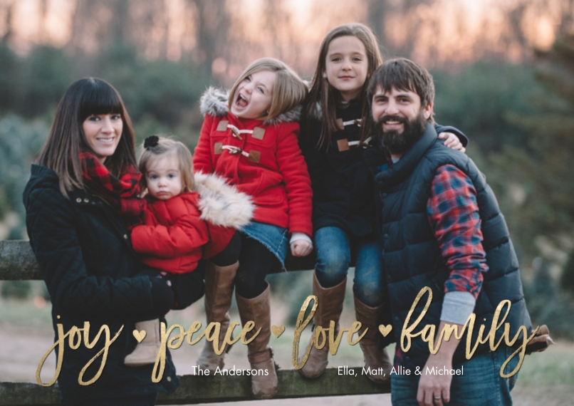 Christmas Photo Cards 5x7 Cards, Premium Cardstock 120lb with Rounded Corners, Card & Stationery -Holiday Joy Peace Love