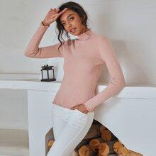 Pullover mit Stehkragen und gekraeuseltem Saum