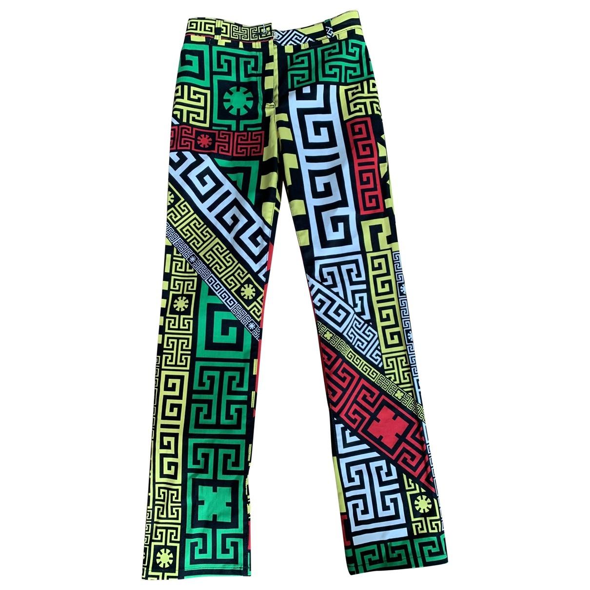 Versace \N Multicolour Cotton Trousers for Women 36 IT