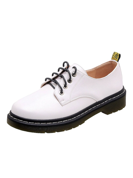 Milanoo Women\'s Flat Oxfords Academic Round Toe Lace Up Shoes