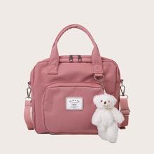 Bolsa tote de niñas con cinta con letra con accesorio de bolsa de dibujos animados