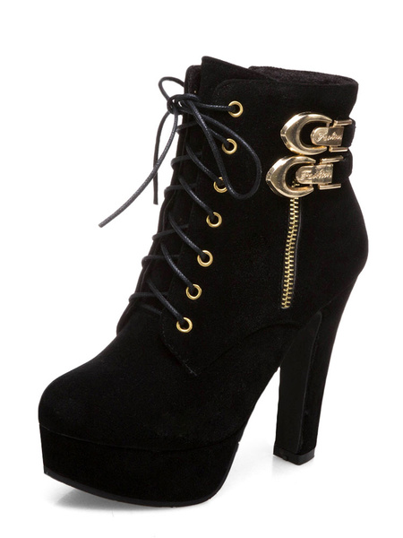 Milanoo Brown Ankle Boots Suede Platform Buckle Detail Lace Up High Heel Boots