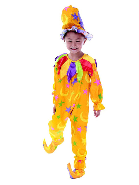 Milanoo Mardi Gras Kids Easy Clown Costume Child Circus Costume Jumpsuit With Hat