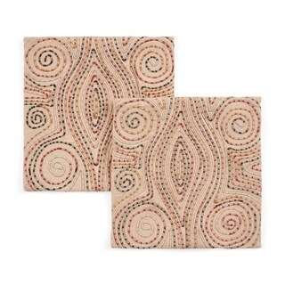 Agassi Cotton Pillow Cover by Christopher Knight Home (Peach+Multicolor - Set of 2)