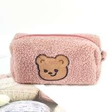 1pc Cartoon Bear Patch Plush Pencil Bag