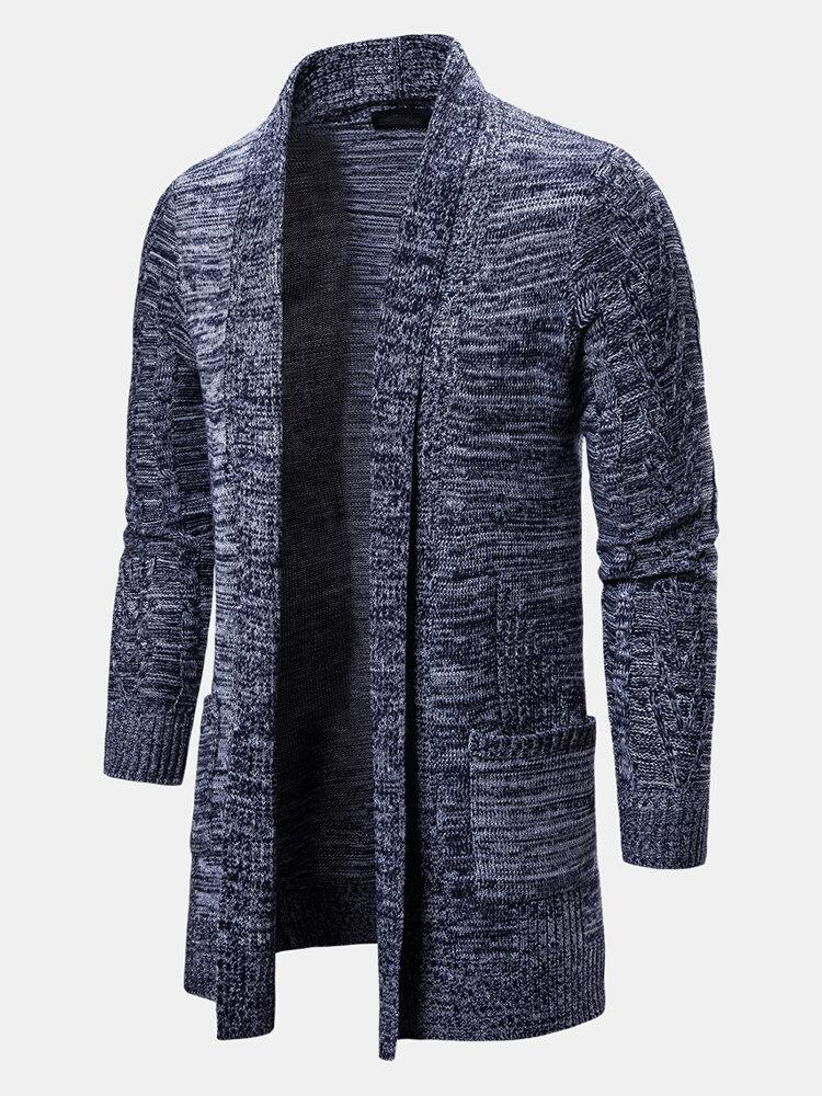 Mens Plain Double Pockets Outwear Lapel Collar Mid Long Cardigans