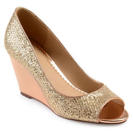 Journee Collection Womens Selma Pumps Wedge Heel, 6 Medium, Pink