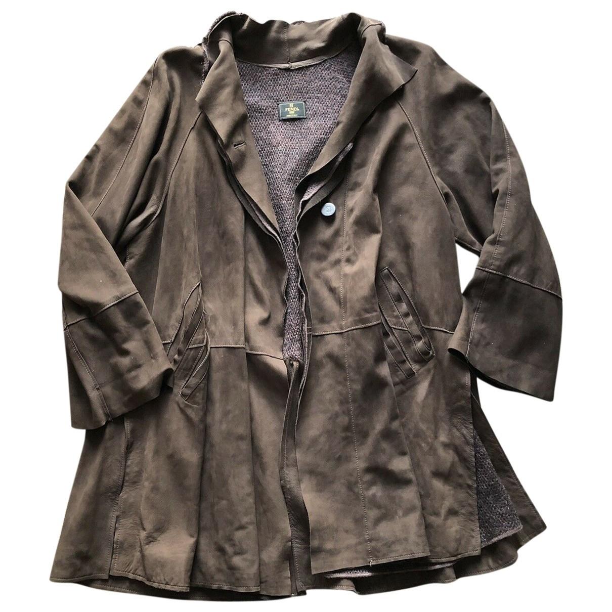 Fendi - Manteau   pour femme en cuir - marron