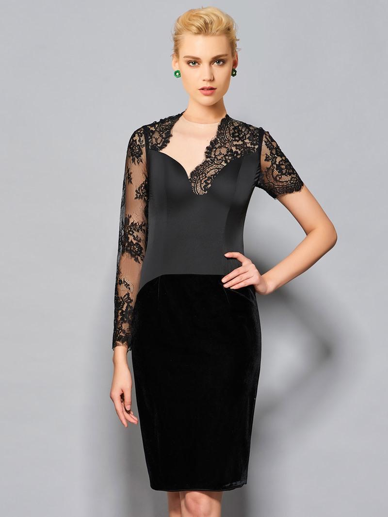 Ericdress Fancy Sheath Asymmetric Sleeve Knee Length Cocktail Dress