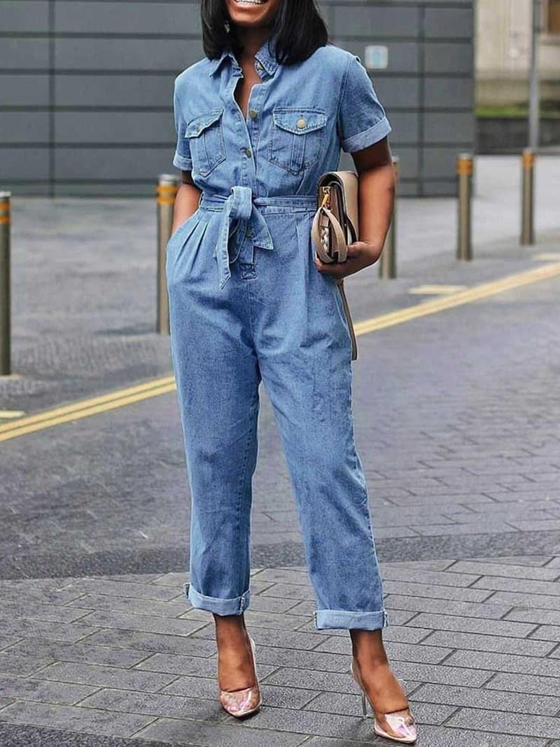 Ericdress Denim Plain Full Length Lace-Up High Waist Straight Pocket Jumpsuit