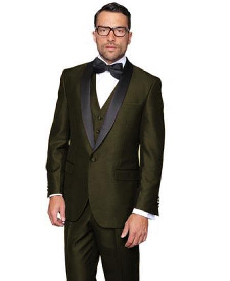 Men's Olive Green Single Breasted 1 Button Modern Fit Dinner Jacket