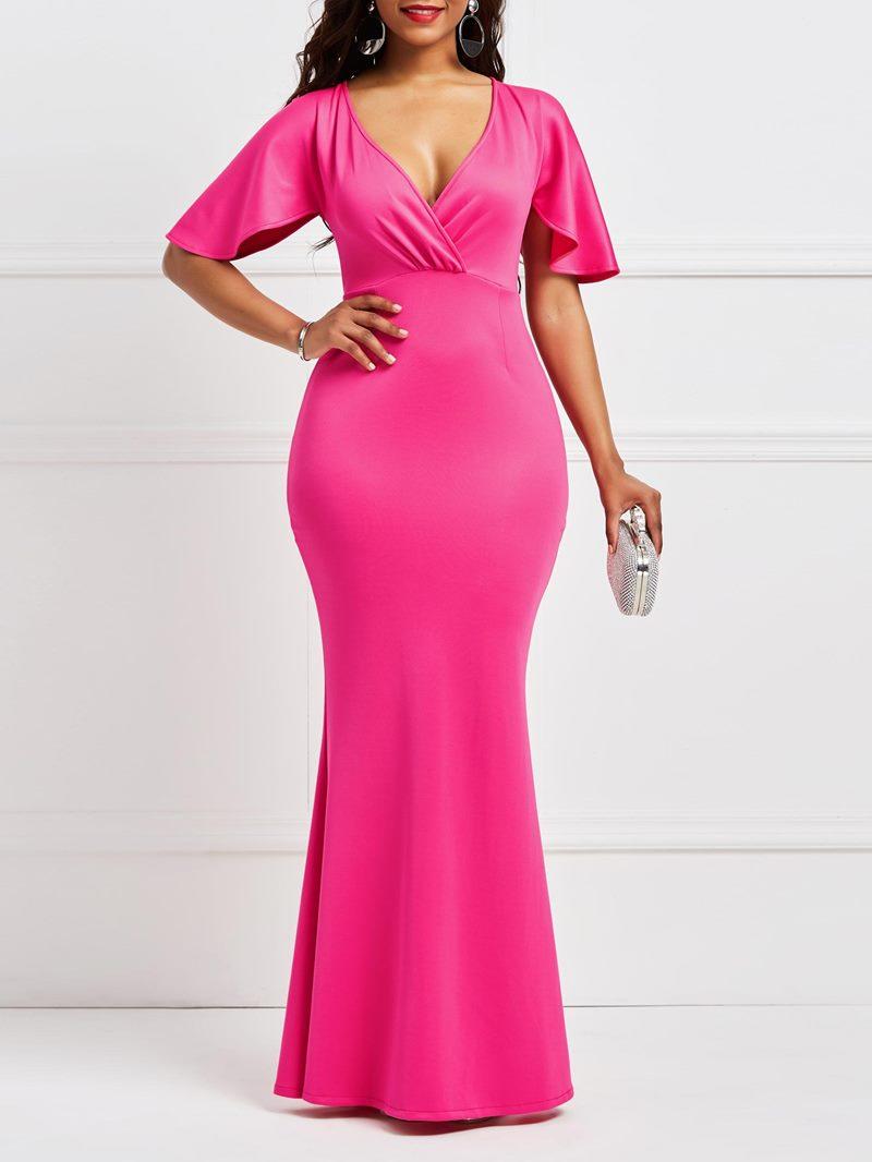 Ericdress Rose Half Sleeves Mermaid Bodycon Women's Dress