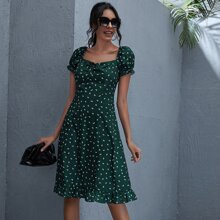 Sweetheart Neck Drawstring Knot Front Allover Print Dress