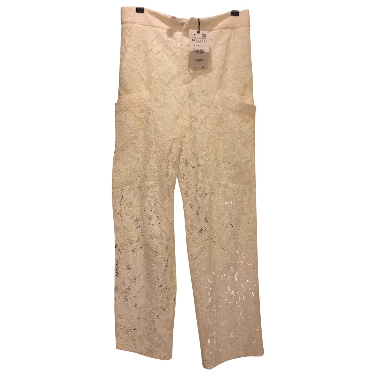 Zara \N White Trousers for Women M International