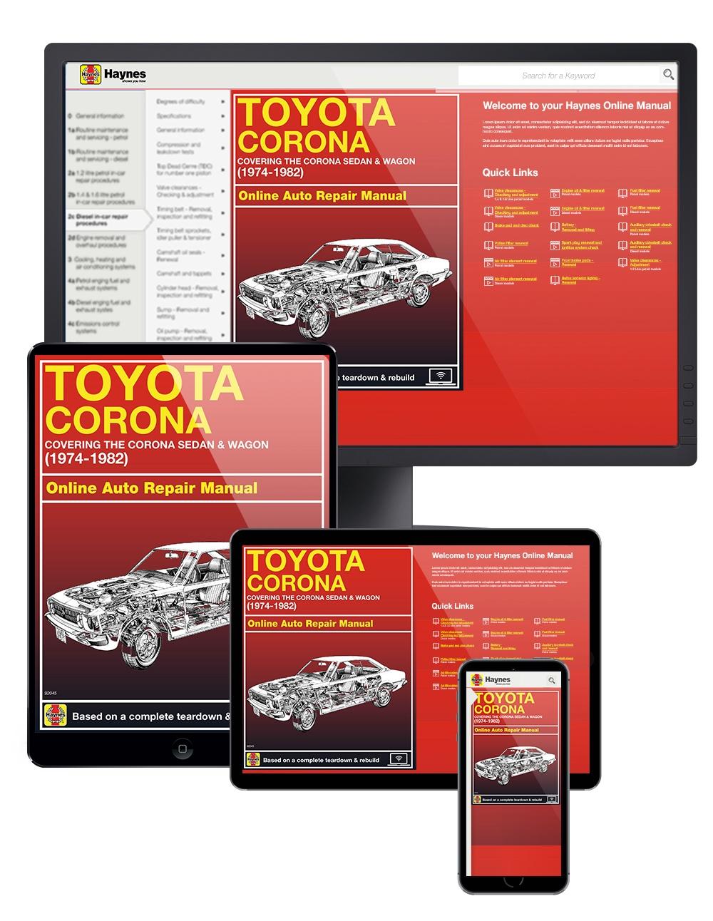 Toyota Corona Sedan & Wagon (74-82) Haynes Online Manual