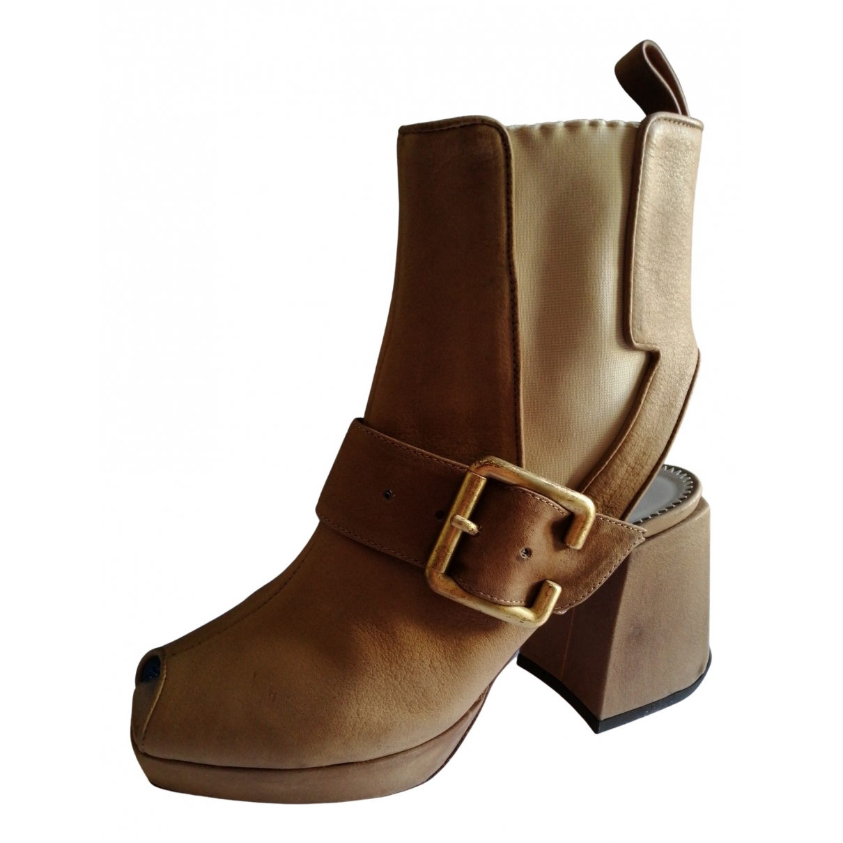 Pollini N Beige Leather Ankle boots for Women 38 IT