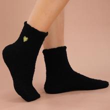 Heart Embroidery Fluffy Socks