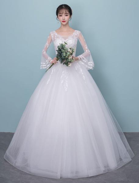 Milanoo Vestidos de novia Vestido de bola de manga larga Ivory V cuello de encaje rebordear piso de tul Vestido de novia