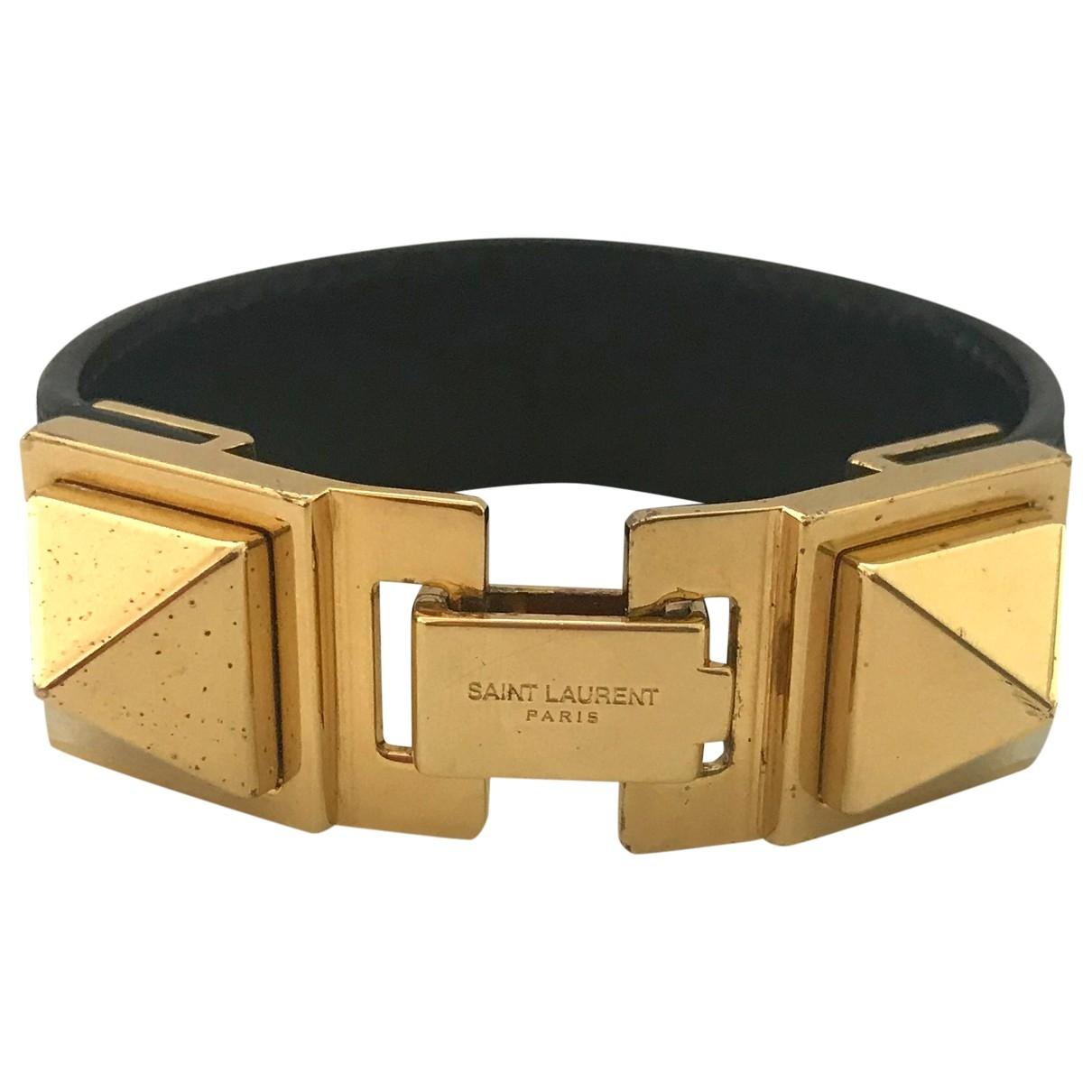 Saint Laurent - Bracelet   pour femme en cuir - noir