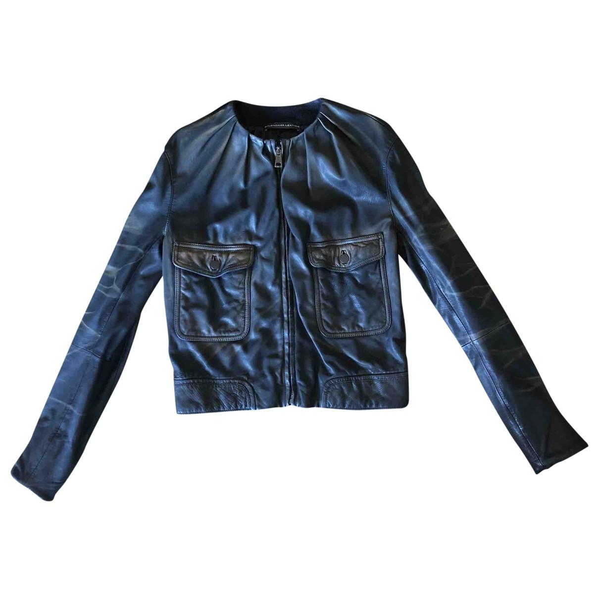 Balenciaga - Veste   pour femme en cuir - noir