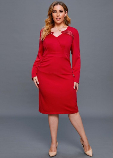Long Sleeve Red Plus Size Dress - 2X