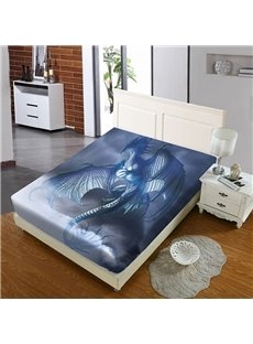 Blue Flying Dragon Reactive Printing 1-Piece Polyester Bed Cover / Mattress Cover